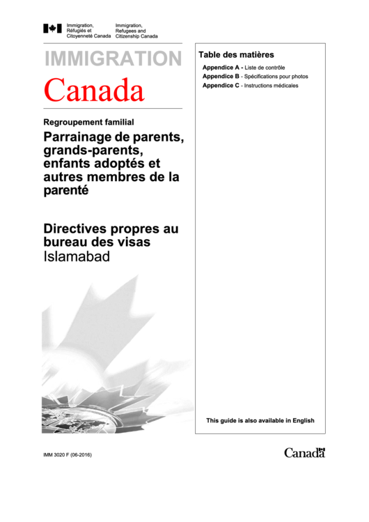Imigration Canada Visa Application Form Printable pdf