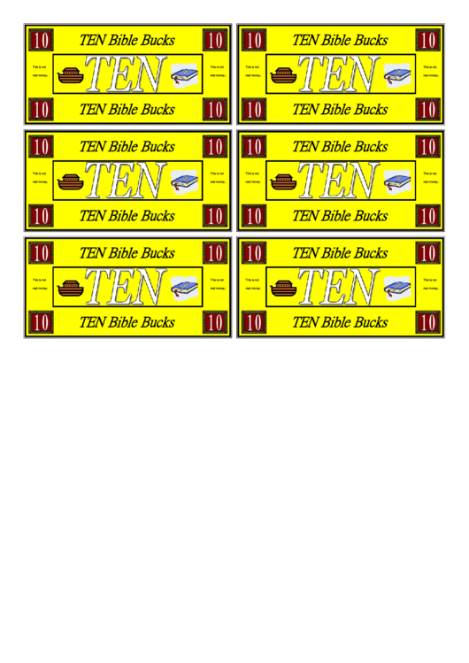 Ten Bible Bucks Template Printable pdf
