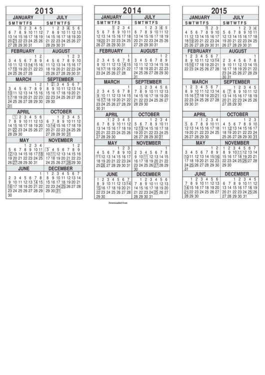 3 Year Calendar Template Printable pdf