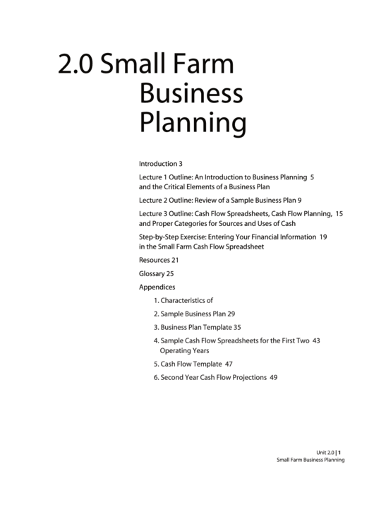 Small Farm Business Planning Templates And Instrucitons