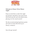 Disney Trivia Theme Night Trivia Template