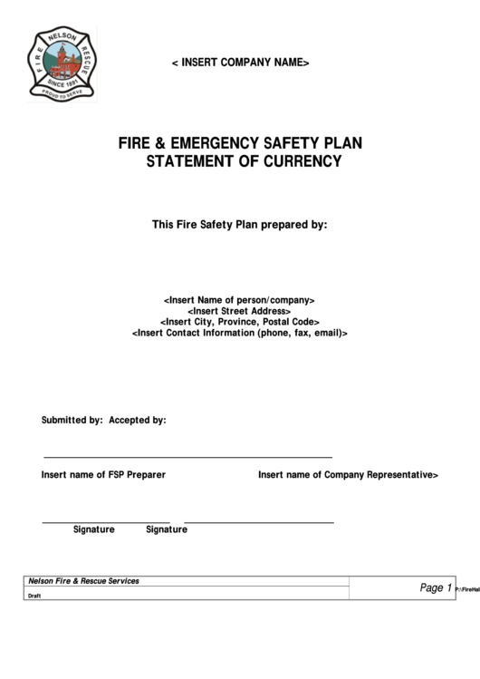 The Fire Safety Plan