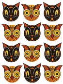 Multicolor Halloween Cats And Owls Templates