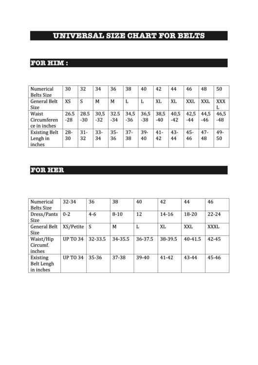 Universal Size Chart For Belts - Norah Oyam Fashion