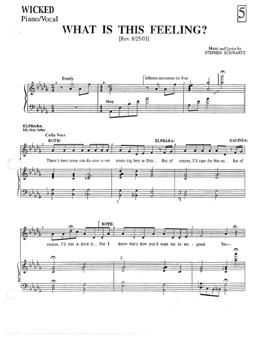 What Is This Feeling By Stephen Schwartz Piano Sheet Music