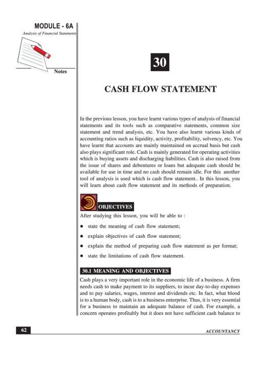 Cash Flow Statement Printable pdf