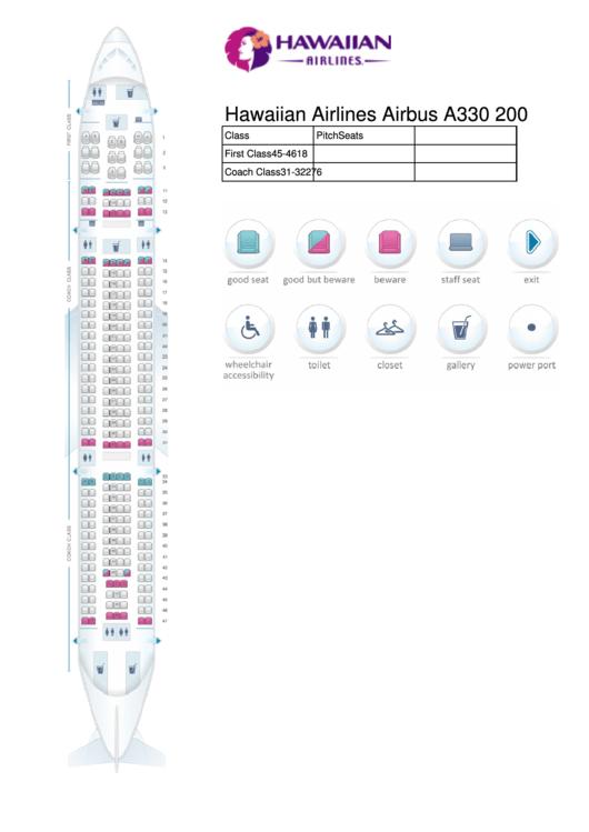 hawaiian airlines airbus a330 200 seating chart printable
