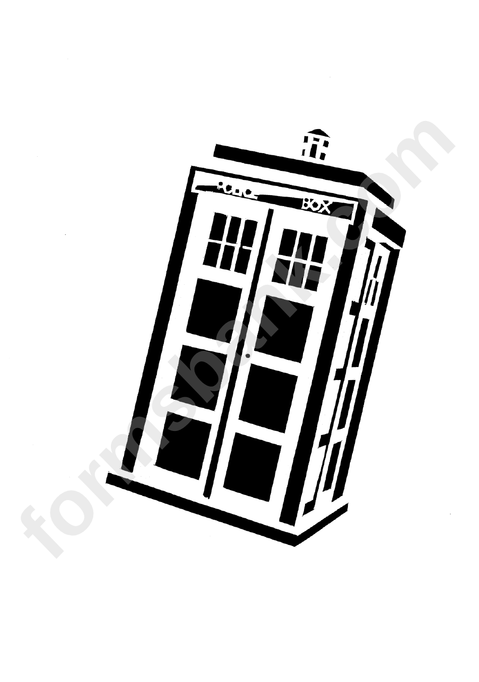 Tardis Cake Template printable pdf download