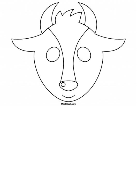 photograph relating to Cow Mask Printable Pdf known as Goat Mask Template In the direction of Shade printable pdf obtain