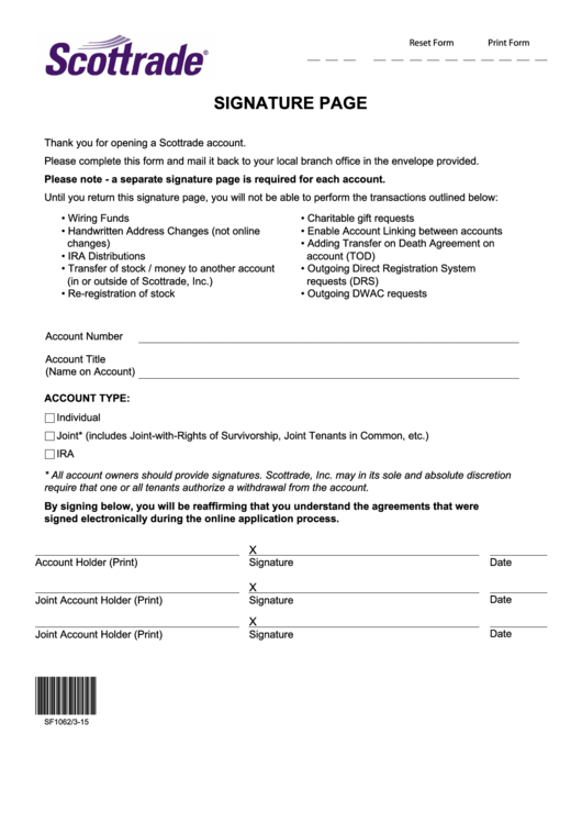 Fillable Signature Page Form Printable pdf