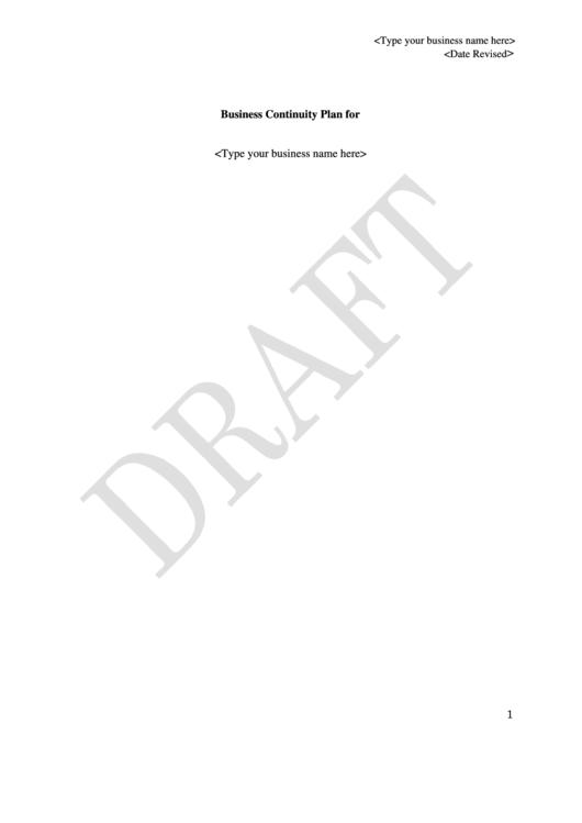 Business Continuity Plan Template Printable pdf
