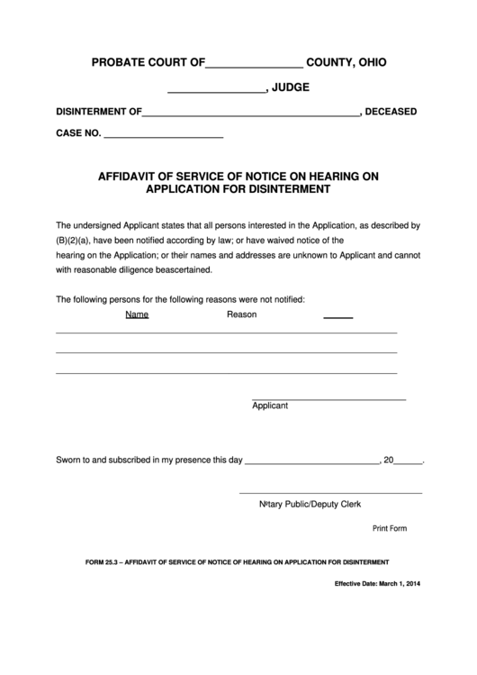 Fillable Ohio Probate Form - Affidavit Of Service Of Notice On Hearing On Application For Disinterment Printable pdf