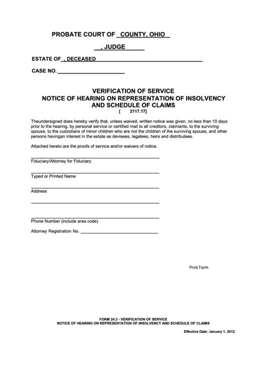 Fillable Ohio Probate Form - Verification Of Service Notice Of Hearing On Representation Of Insolvency And Schedule Of Claims Printable pdf