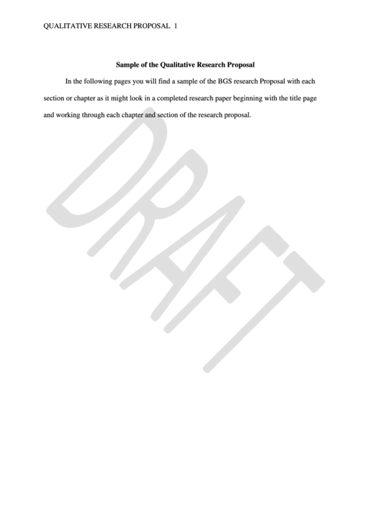 Sample Of The Qualitative Research Proposal