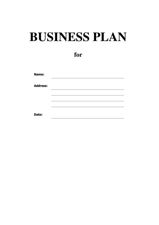 Business Plan Template Printable pdf