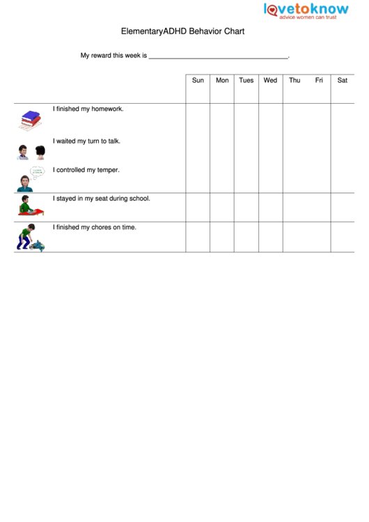 Elementary Adhd Behavior Chart