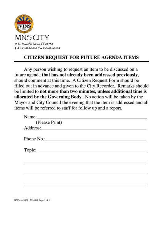 Ic Form 1028 Citizen Request For Future Agenda Items - Ivins City