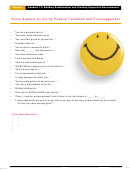 Starters For Giving Positive Feedback And Encouragement