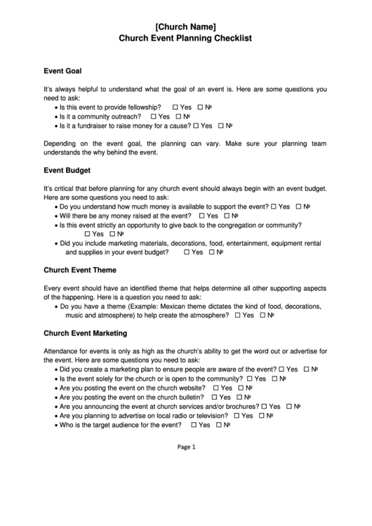 Church Event Planning Checklist
