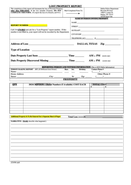 Lost Property Report Printable Pdf Download