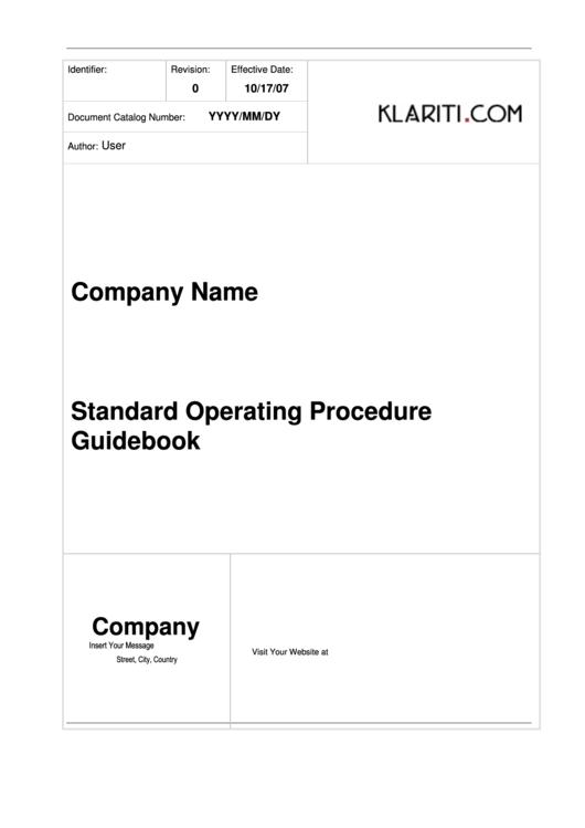 Standard Operating Procedure Template Printable pdf