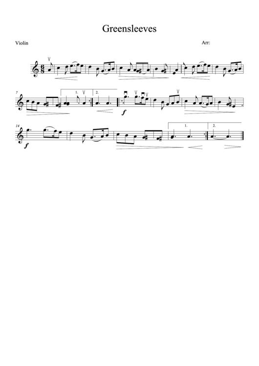 Greensleeves (violin Sheet Music)