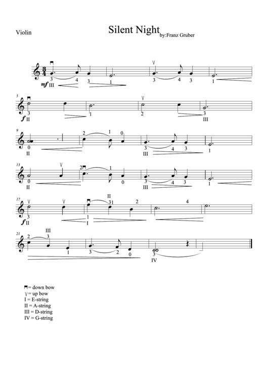 Silent Night - Franz Gruber (violin Sheet Music)