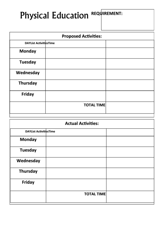 physical education record keeping form printable pdf download