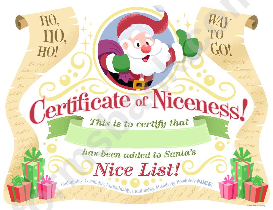 Certificate Certificate Of Niceness Template