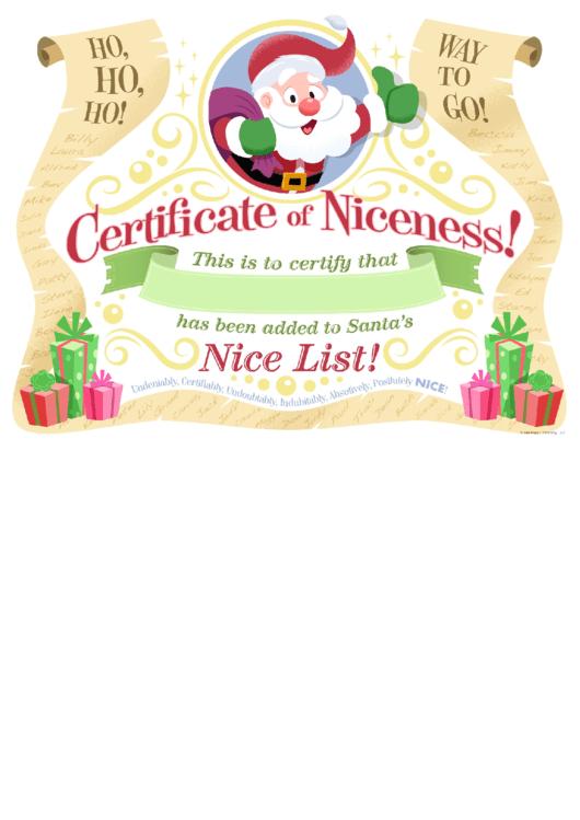 Certificate Certificate Of Niceness Template Printable pdf