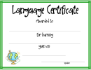 Language Certificate Template