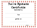 You're Dynamite Certificate Template