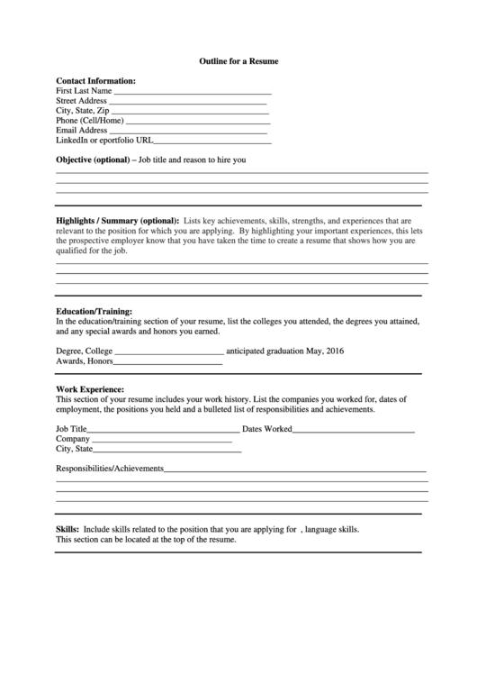 Outline For A Resume Printable pdf