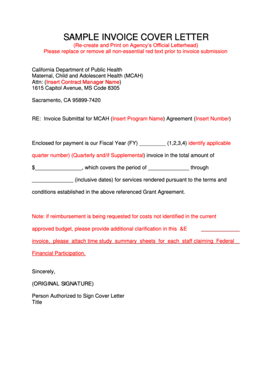 Sample Invoice Cover Letter Template printable pdf download