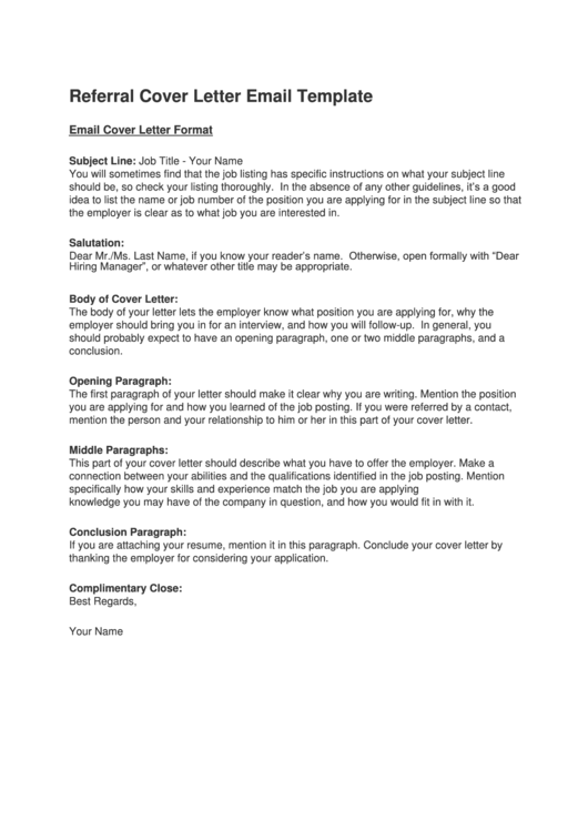 Referral Cover Letter Email Template Printable pdf