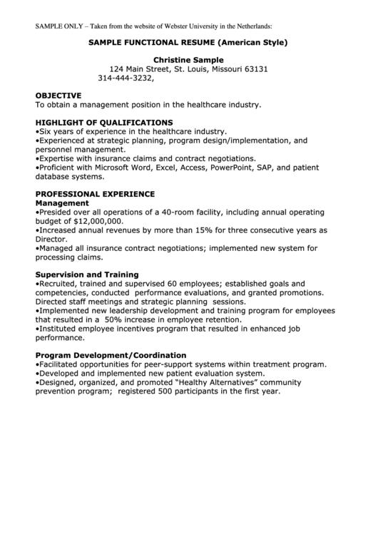 Sample Functional Resume Printable pdf