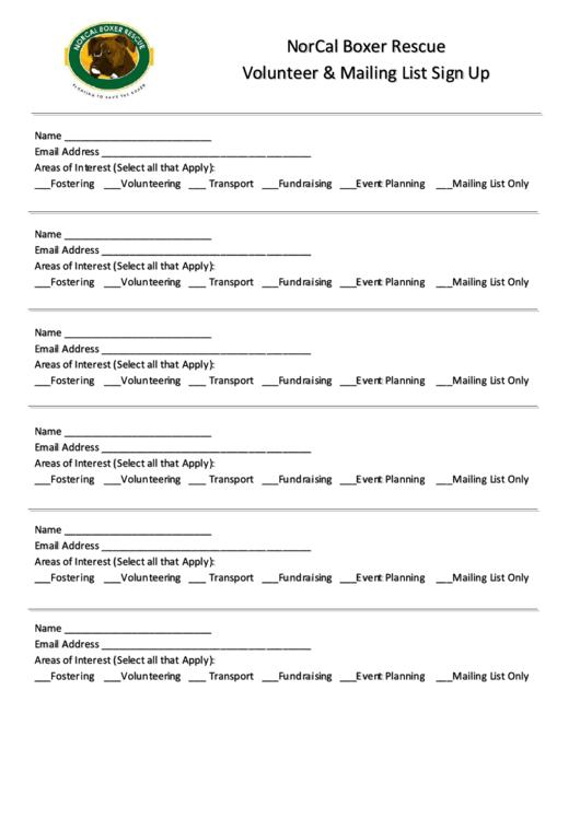 Volunteer & Mailing List Sign Up Sheet Printable pdf