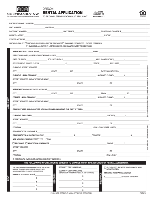 Top 6 Rental Application Form Oregon Templates free to download in ...