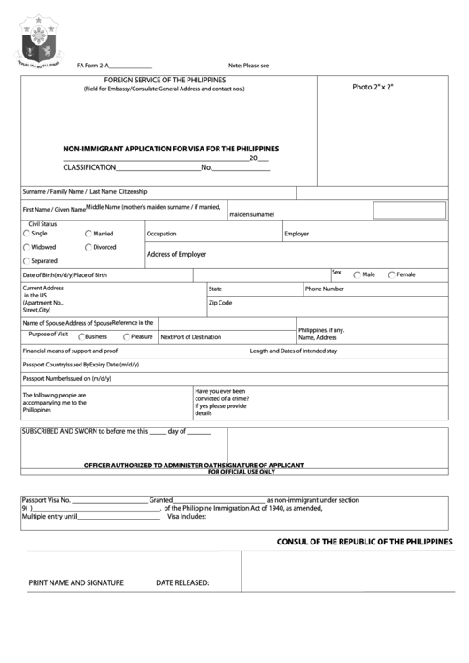 Fillable Fa Form 2-A - Non-Immigrant Application For Visa For The Philippines Printable pdf