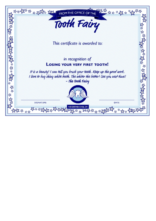 Fillable Tooth Fairy Certificate Template Printable Pdf