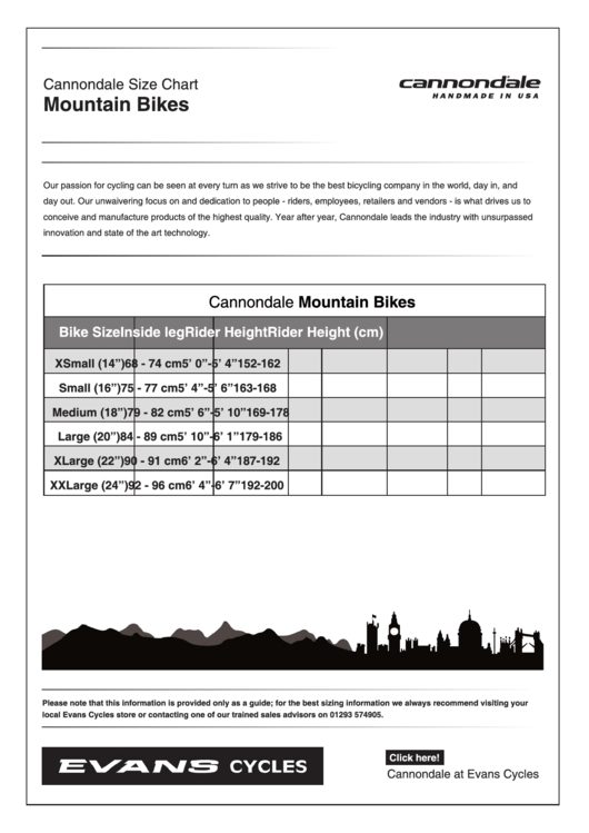 Cannondale Mountain Bikes Size Chart Printable Pdf Download