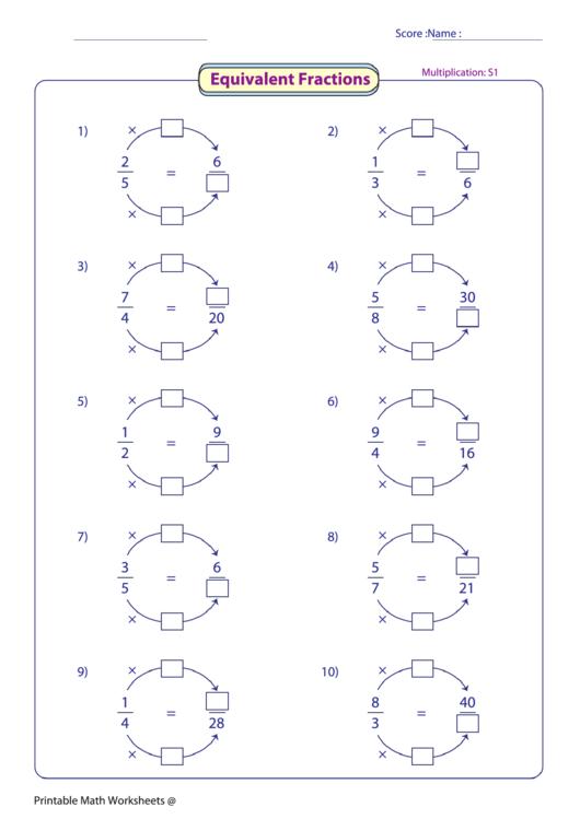 Equivalent fractions worksheets pdf