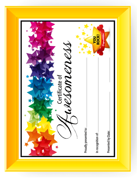 certificate of awesomeness templates for kids printable