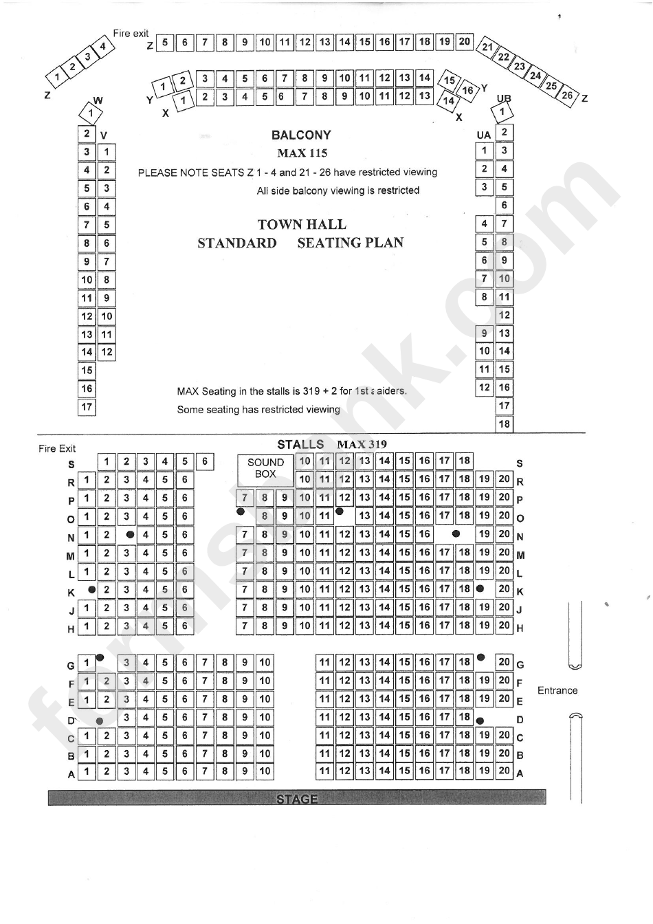 town hall seating plan