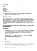 Conditional No Objection To Significant Deviation Letter Template