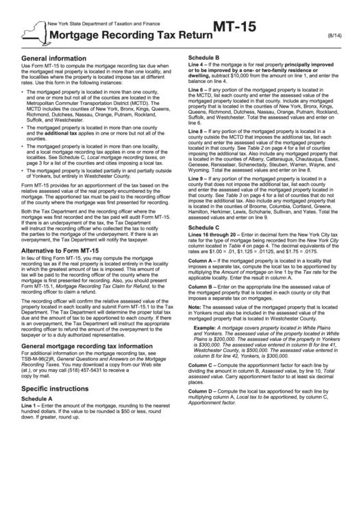 Form Mt-15 - Mortgage Recording Tax Return