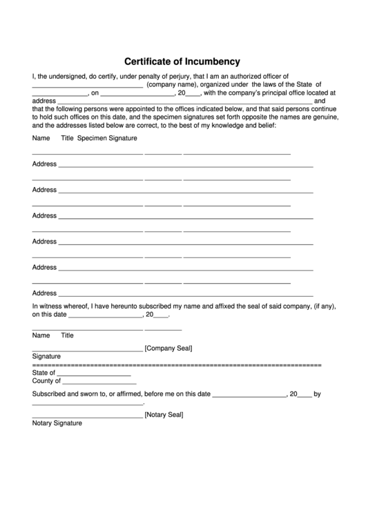 Certificate Of Incumbency printable pdf download