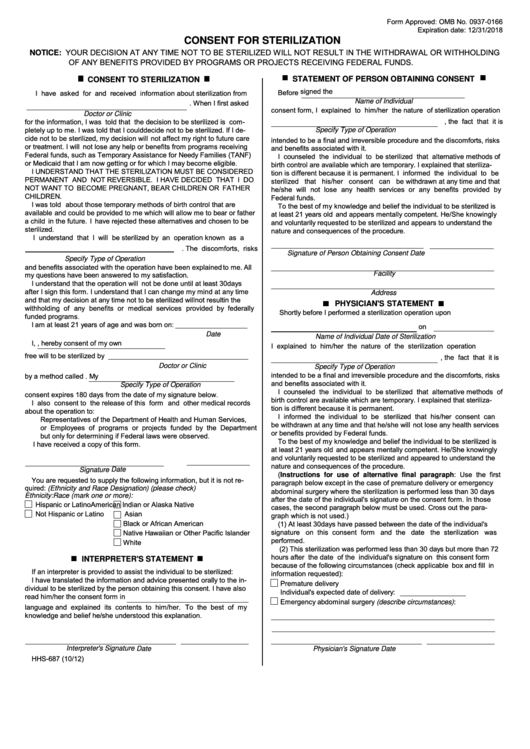 Consent For Sterilization Printable pdf