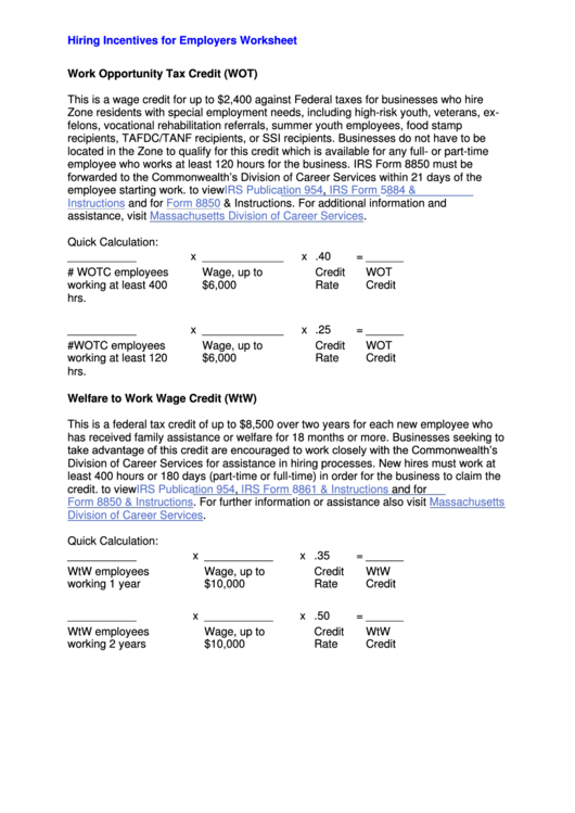 Hiring Incentives For Employers Worksheet - Work Opportunity Tax Credit (Wot) Printable pdf