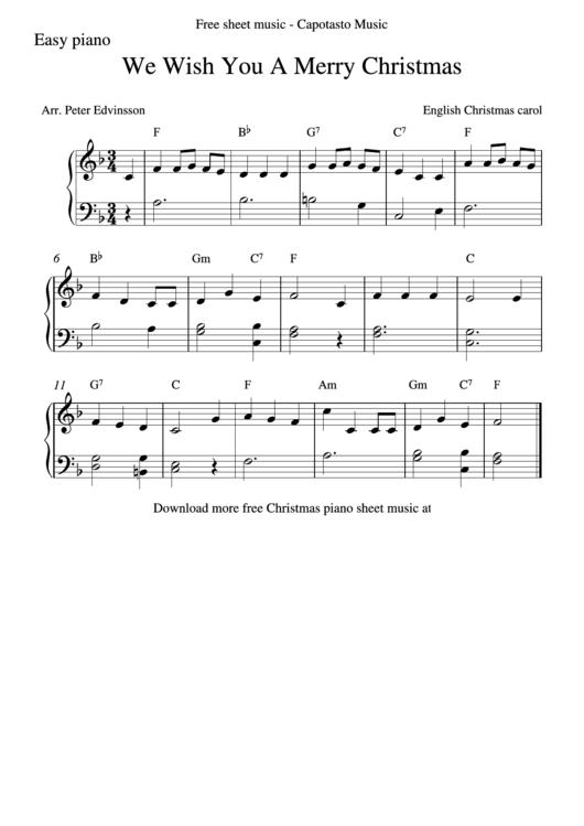 We Wish You A Merry Christmas Piano Sheet Music printable pdf download